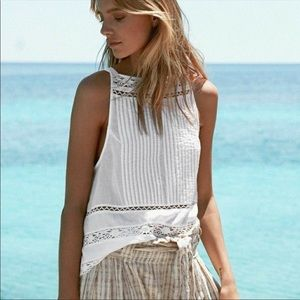 Free People Constant Crush pintuck lace tank